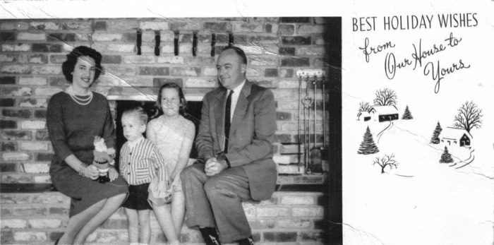 An Old family photo in front of the Living room fireplace.