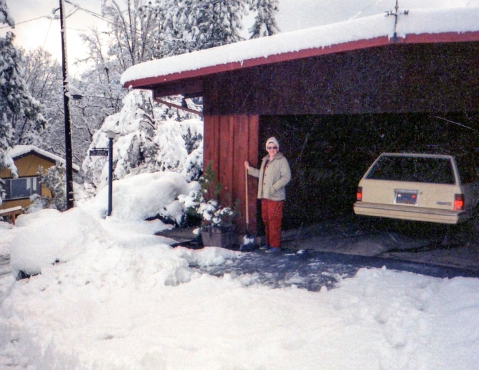My mom in front of the carport (c. 1970)