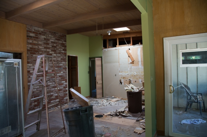 The kitchen is gutted