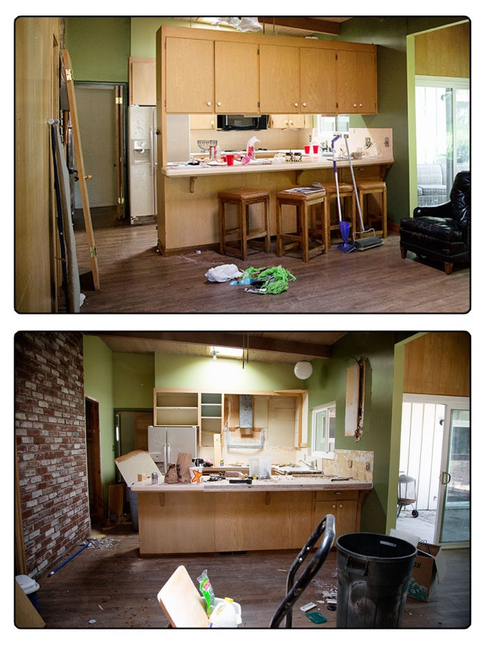 Kitchen with and without hanging cabinets
