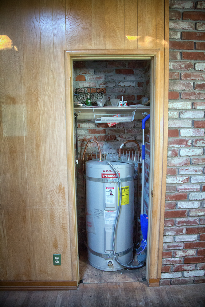 We will be moving the water heater and turning this into the wine cooler