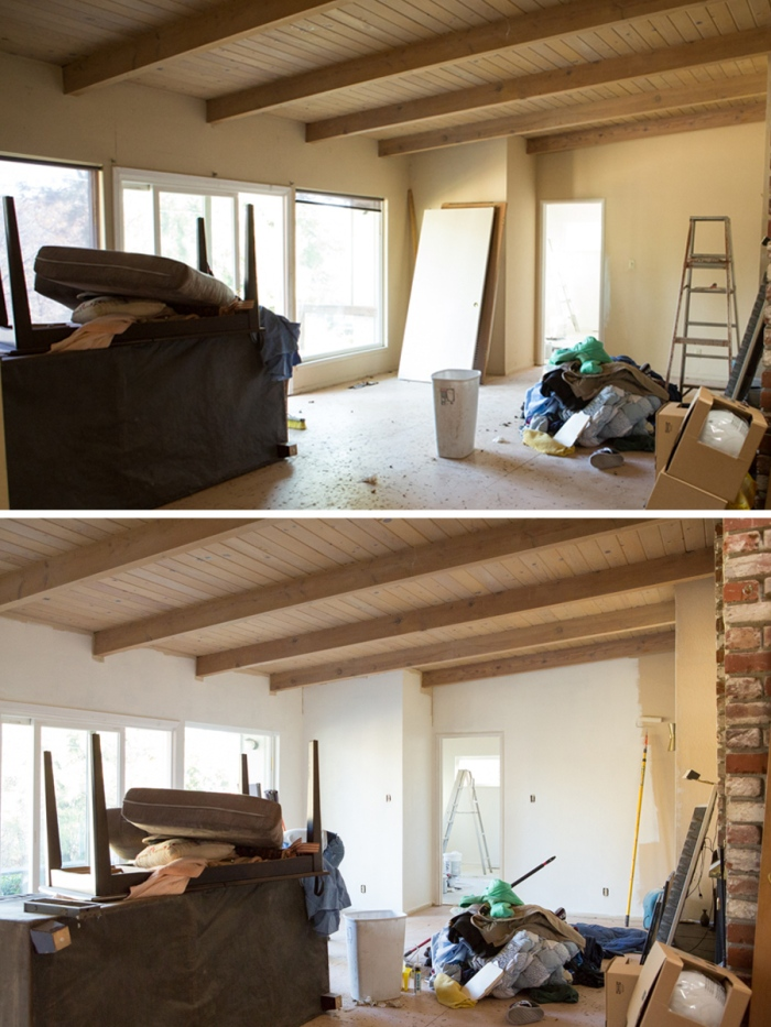 Before and After view of the Living Room from the Entry