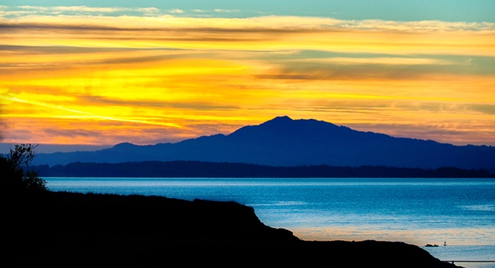 San Francisco Bay with Mt. Tamalpais and sunset