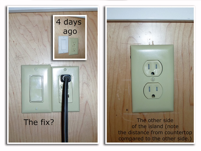 The island switches and plugs