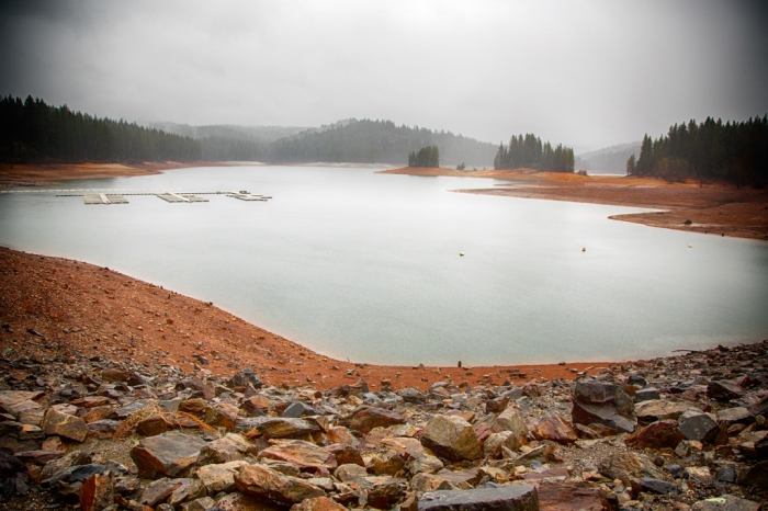 Our Reservoir, Jenkinson Lake surrounded by typical red clay dirt.