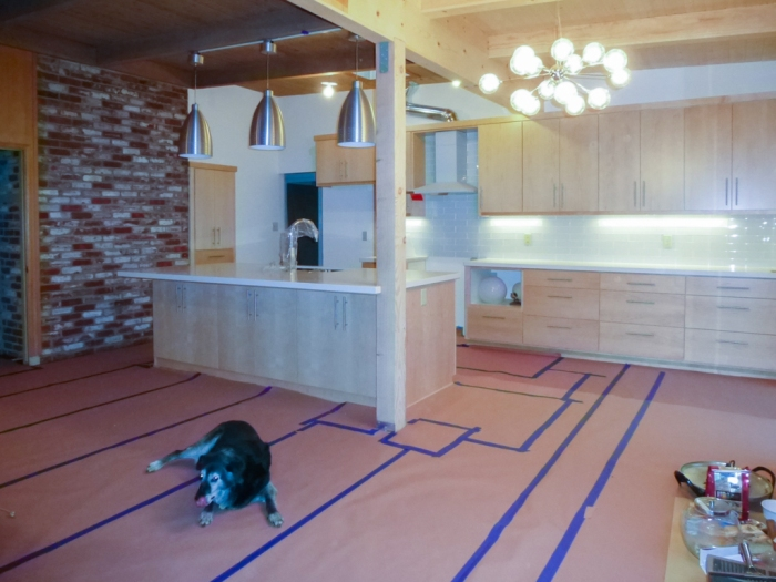 Kitchen/Family Room with floor protection