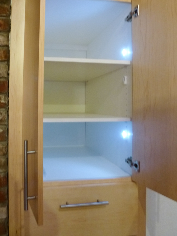 LED lights in cabinet have motions detectors