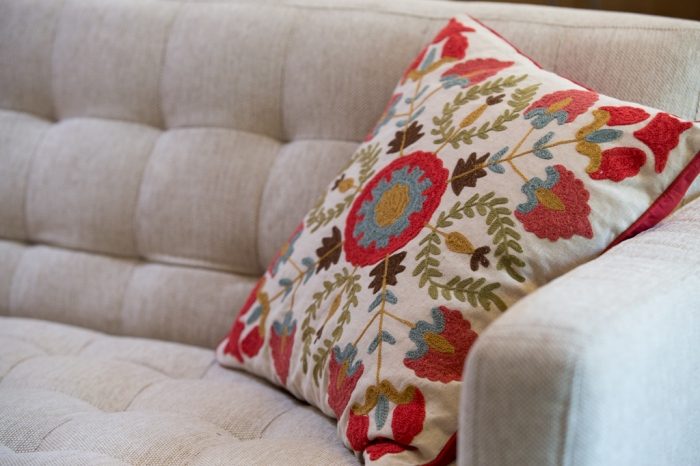 Embroidery reminiscent of the 1960's.